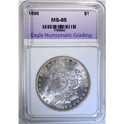 1896 MORGAN DOLLAR, ENG GEM BU