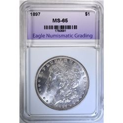 1897 MORGAN DOLLAR, ENG GEM BU