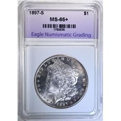 1897-S MORGAN DOLLAR, ENG GEM BU+