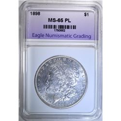 1898 MORGAN DOLLAR, ENG GEM BU PL