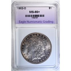 1902-O MORGAN DOLLAR, ENG GEM BU+