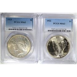 1922 & 1923 PEACE SILVER DOLLARS, PCGS-MS63