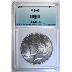 1934 PEACE DOLLAR, EMGC GEM BU