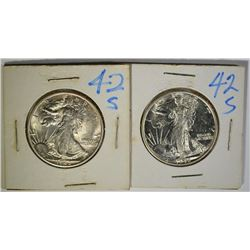 2- 1942-S WALKING LIBERTY HALF DOLLARS, CH BU