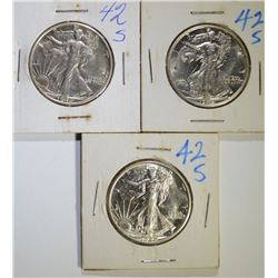 (3) 1942-S WALKING LIBERTY HALF DOLLARS, CH BU