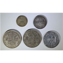 (5) SILVER FOREIGN COINS SEE DETAILS