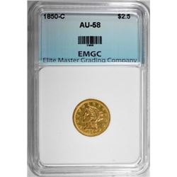 1850-C $2.50 GOLD PRINCESS, EMGC AU/BU