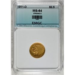 1911-D STRONG D $2.50 GOLD INDIAN, EMGC CH/GEM BU