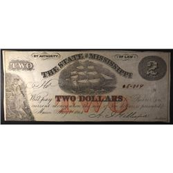 1864 STATE OF MISSISSIPPI $2.00 NOTE, CU++