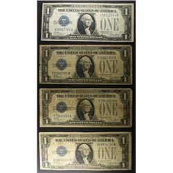 "4 - 1928 $1 ""FUNNY BACK"" SILVER CERTIFICATES"