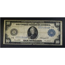 1914 $10.00 FED. RESERVE NOTE NICE CIRC- CHICAGO