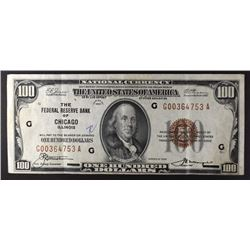 1929 $100. FEDERAL RESERVE BANK OF CHICAGO VF NICE