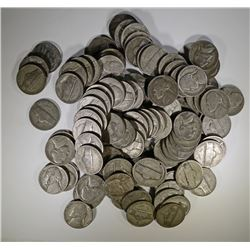 "100 CIRC SILVER JEFFERSON ""WAR"" NICKELS"
