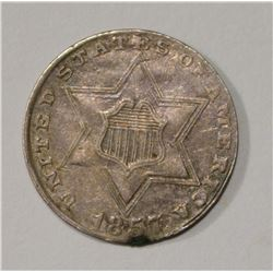 1857 3-CENT SILVER, VF/XF