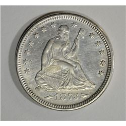 1873 ARROWS SEATED LIBERTY QUARTER CH AU