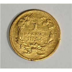 1854 TYPE 2 $1 GOLD AU SOME MARKS