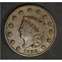 1828 LARGE CENT SMALL WIDE DATE  F-VF
