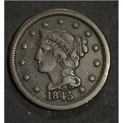 1845 LARGE CENT  VF+