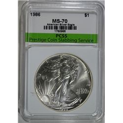 1986 AMERICAN SILVER EAGLE, PCSS PERFECT GEM BU