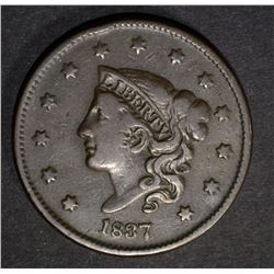 1837 LARGE CENT  VF/XF