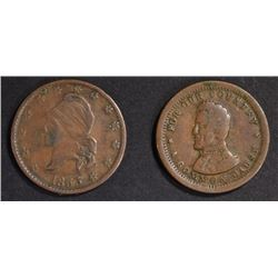(2) CIRCULATED CIVIL WAR TOKENS