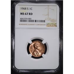 1968-S LINCOLN CENT, NGC MS-67 RED