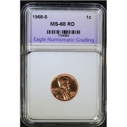 1968-S LINCOLN CENT ENG SUPERB GEM+ BU RED
