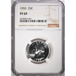 1955 WASHINGTON QUARTER, NGC PF-69
