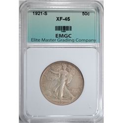 1921-S WALKING LIBERTY HALF DOLLAR, EMGC XF/AU