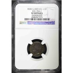 1830 GREAT BRITAIN 1/2 FARTHING, NGC VF