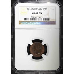 1844 GREAT BRITAIN ½ FARTHING, NGC MS-62 BN RARE!