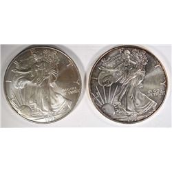 2 - 1996 AMERICAN SILVER EAGLES - CHOICE BU