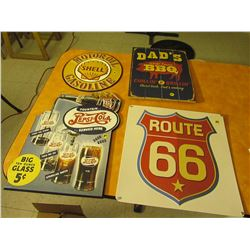 4 restaurant signs, 2 tin & 2 wood