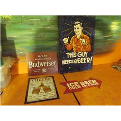 4 beer signs, 2 tin & 2 wood
