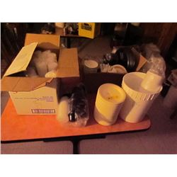 Plates, portion cups, containers, straws, lids, trays
