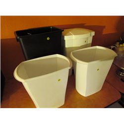 4 garbage cans lot