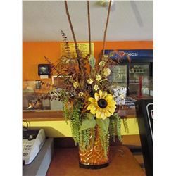 Tall tin vase with faux flowers (sunflower)