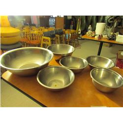 6 stainless steel mixing bowls
