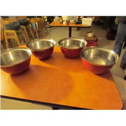 4 red stainless steel mixing bowls