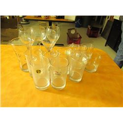 15 assorted glasses and wine glasses