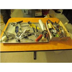Assorted metal tray & box of utensils