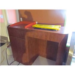Large wooden garbage stand with tray holder and dish bin and wet floor sign