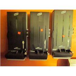 3 wall mounted Dixie smart stock cutlery dispensers