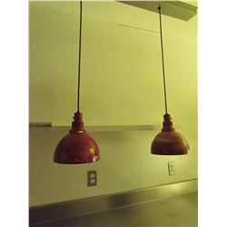 Set of red Merco ceiling lamps