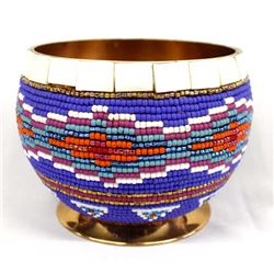 Hand Beaded Copper Bowl by Kathy Kills Thunder