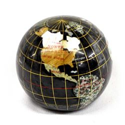 Black Onyx & Inlay Gemstone Globe Paperweight