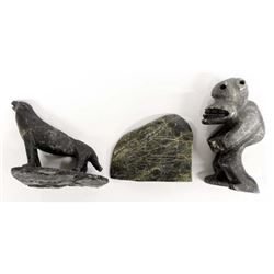 3 Canadian Inuit Stone Carvings