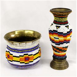 Beaded Brass Vase and Bowl by Kills Thunder
