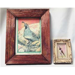 2 Original Framed Bird Paintings