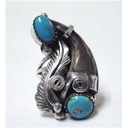 Native American Navajo Silver Turquoise Coral Ring